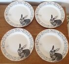 4 Ciroa Easter Bunny Plates Fine China Rabbit Love Spring Dessert Salad New Gold