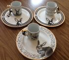 6 Ciroa Easter Bunny Plate Mug Fine China Rabbit Love Spring New Gold Dinner