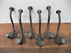 Lot of 6 Beautiful Antique Style Spiral Ornate Cast Iron Coat Hat Hooks Hangers