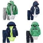 NWT Carters Baby Boys French Terry Hoodie Bodysuit  Pants 3 Pc Set Outfit