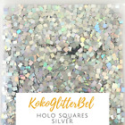 Holographic Silver Glitter Squares  Nail Art for Gel  Acrylic  Nail Design