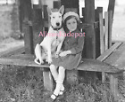Bull terrier dog with a little girl 8 x 10 Vintage Photo Reprint Ships Free