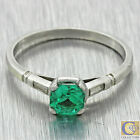 1920s Antique Art Deco Solid Platinum .50ct Emerald .08ctw Diamond Ring