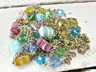 Vintage 92 Long Pastel Glass Bead Crystal Gold Chain Necklace Blue Pink Green