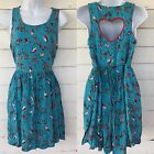 Xhilaration Sz M Blue Birds Heart Red Summer Sundress Pleated Cute Preppy Sz S