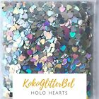 Holographic Silver Glitter Hearts  Nail Art for Gel  Acrylic  Nail Design