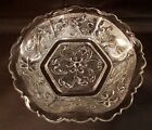 Vintage Clear Cut Pressed Glass Daisy Flower and Vine Dish Bowl 6