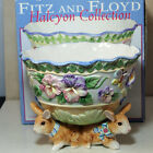 Fitz & Floyd Halcyon Footed Serving Bowl Easter Rabbits Bunnies, w/Box
