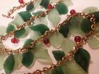 Antique Early Haskell Czech Glass Leaves Berries Arrow Toggle Festoon Necklace