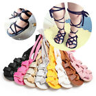 2017 Newborn Infant Baby Girl PU Leather High Bandage Sandals Summer Pram Shoes