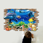 3D Blue Ocean Wall Sticker Mural Decal for Kid Baby Bedroom DIY Decoration
