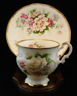 Elizabethan England, flowers and gold, footed cup and saucer