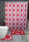 13PC SCARLET RED SWIRLS Printed Design Bathroom Fabric Shower Curtain Set Hook