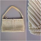 RARE Vintage 1940s White Stripe Telephone Cord Coil Purse Top Handle Handbag