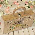 Vintage...  Early 60's   Wooden Box Purse   Embellished FLOWER CART ~ Excellent!