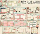 BABY GIRL ALBUM Set of 13 Double Page Premade Baby Scrapbook Layouts