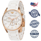 NEW EMPORIO ARMANI AR5919 MEN'S WHITE AND ROSE GOLD CHRONOGRAPH DIAL WATCH