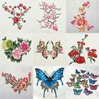 Embroidered Flower Butterfly Applique Iron on Patch Clothes Fabric Sticker Badge
