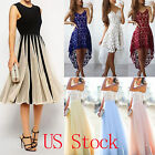 US Womens Lace Formal Evening Prom Party Long Dress Wedding Bridesmaid Ball Gown