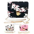 Women PU Leather Lady Floral Chain Shoulder Bag Handbag Satchel Tote Cross Body