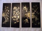 zbx214 LOT OF 4 JAPANESE LACQUER URUSHI HAND PAINTED PANELS Maki-e  4 x 10 3/4