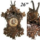 Spectacular Antique Black Forest 26 Cuckoo Clock Case Hunt Theme Figural
