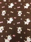 Fabric Flannel Dogs Pink Brown Baby Girls Nursery 1 Yard New Lot 52