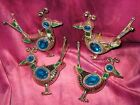 Lot 4 Unique Stylized BIRD DISTILFINK ROADRUNNER ORNAMENTS Blue Green Silver