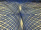 Diamond Pattern Fabric Royal Blue Sequins Web Embroidered Mesh Fabric By Yard