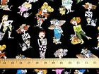 BTY Quilt Craft Fabric CAT LADIES Loralie Designs on Black Lady Hats Kittens