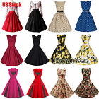 50S 60S ROCKABILLY DRESS Vintage Swing Pinup Retro Housewife Prom Party Dress