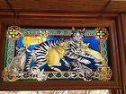 STAINED GLASS CATS KITTENS DECOR WINDOW PANEL SUNCATCHER MAMA CAT WITH KITTENS