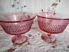 2 Vintage Pink / Cranberry  Hobnail Pressed Glass Footed Bowls / Compotes