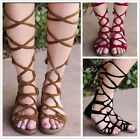 Womens Leather Knee High Cut Out Lace Up Ladies Flat Gladiator Summer Sandals