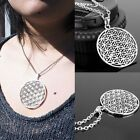 Jewelry Women Necklace Silver Chain Flower Of Life Pendant Sacred Geometry