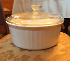 Corning Ware French White F-1-B 2.5 L Casserole/Baker and Pyrex Lid-G 1 C-GOOD