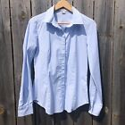 NWOT NEW FOREVER 21 large baby blue white striped button down career shirt top