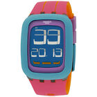 Swatch Peche Melba Blue Dial Silicone Strap Ladies Watch SURS103