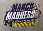 NCAA Mens Size Large 2016 Division I U OF MICHIGAN March Madness T Shirt Gray