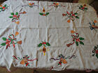 Vintage Christmas Tablecloth bells berries embroidered scalloped edges