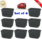 8 Plastic Tote Box 18 Gallon Stackable Utilization Storage Bin Container Lid NEW