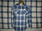 Vintage 80s LEVIS Levis WESTERN PEARL SNAP BLUE PLAID COWBOY SHIRT sz MEDIUM