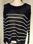 Ann Taylor Women's Sweated  Blue White Stripe S Fall Layer Up Long Sleeve A21