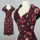 Vintage 1950s 50s Silk Cocktail Party Dress Wasp Waist Wiggle Shelf Bust Pin Up