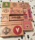 Lot of 13 Wooden Mounted Rubber Stamps Christmas Love Flowers Friends