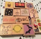 Lot of 14 Wooden Mounted Rubber Stamps Christmas Easter Halloween