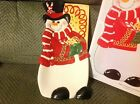 Fitz and Floyd sugarcoated Christmas snowman Elongated tray new in Box