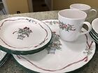 20 pc Corelle Christmas Callaway Holiday Ivy Red Ribbon Service for 4
