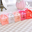 New 50PCS Love Heart Laser Cut Candy Box Gift Boxes Ribbon Wedding Party Favor