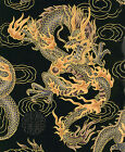 FIRE BREATHING DRAGONS Japanese Asian Oriental Quilt Fabric in Black BTY